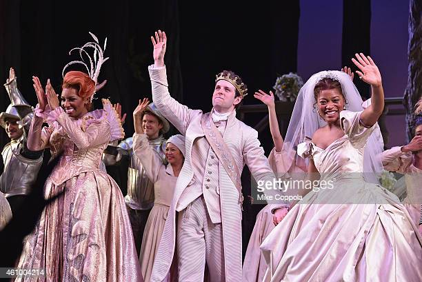 Actors NeNe Leakes Joe Carroll and Keke Palmer takes a curtain call during the final performance of Broadways 'Rodgers Hammerstein's Cinderella' at...