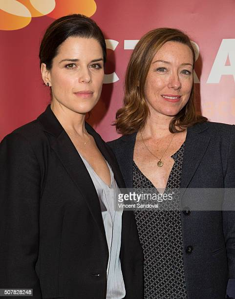 Actors Neve Campbell and Molly Parker attend the 2016 ACTRA National Award of Excellence at The Beverly Hilton Hotel on January 31 2016 in Beverly...