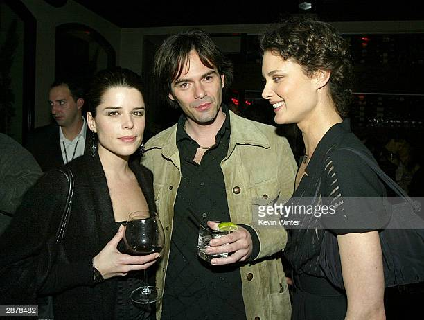 Actors Neve Campbell Billy Burke and Shalom Harlow pose at the Fox AllStar party for the 2004 TCA Winter Tour at Dolce on January 16 2004 in Los...