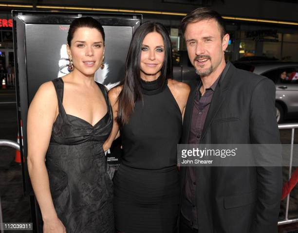 """Actors Neve Campbell, Courteney Cox and David Arquette arrive at the world premiere of The Weinstein Company's """"Scream 4"""" presented by AXE Shower at..."""
