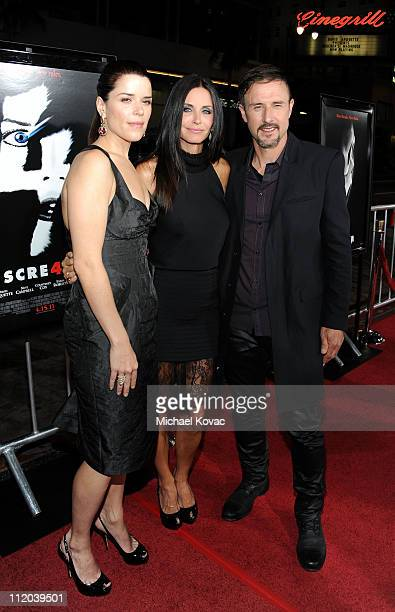 """Actors Neve Campbell, Courteney Cox and David Arquette attend the World Premiere of The Weinstein Company's """"Scream 4"""" presented by AXE Shower held..."""