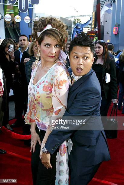 Actors Nia Vardalos and Alec Mapa attend the world premiere of the film Connie and Carla at the Universal Studios Cinema on April 13 2004 in...