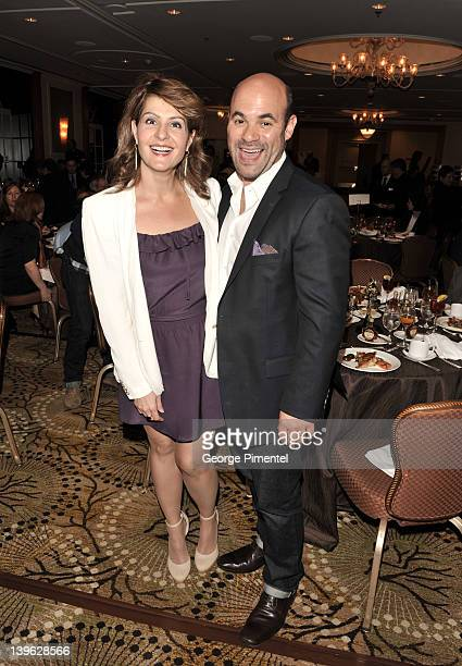 Actors Nia Vardalos and Ian Gomez attend the 2012 Luncheon Honoring Canadian Nominees For The Academy Awards at the Beverly Wilshire Four Seasons...