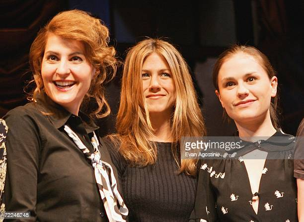 Actors Nia Vardalos Jennifer Aniston and Anna Paquin take a curtain call onstage at the 6th Annual 24 Hour Plays on Broadway to benefit the Working...