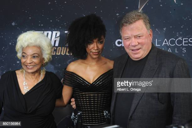 Actors Nichelle Nichols Sonequa MartinGreen and William Shatner pose at the Premiere Of CBS's 'Star Trek Discovery' held at The Cinerama Dome on...