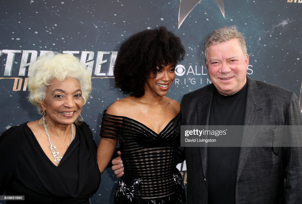 Actors Nichelle Nichols, Sonequa Martin-Green, and William Shatner attend the premiere of CBS's 'Star Trek: Discovery' at The Cinerama Dome on September 19, 2017 in Los Angeles, California.