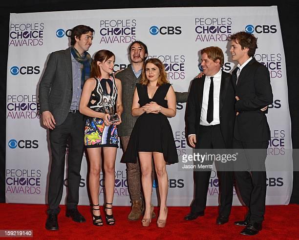Actors Nicholas Braun Emma Watson Ezra Miller Mae Whitman and Johnny Simmons with writerdirector Stephen Chbosky winners of Favorite Drama Movie for...