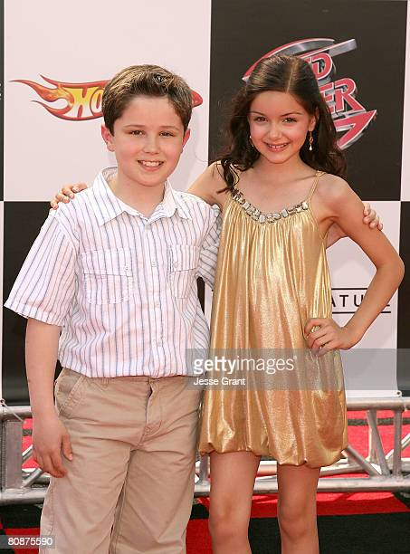 Actors Nicholas Elia and Ariel Winter arrive at the 'Speed Racer' world premiere at the Nokia Theatre on April 26 2008 in Los Angeles California