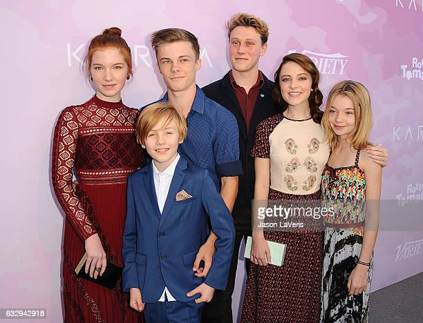 Actors Nicholas Hamilton Shree Crooks Samantha Isler George MacKay Charlie Shotwell and Annalise Basso attend Variety's celebratory brunch event for...