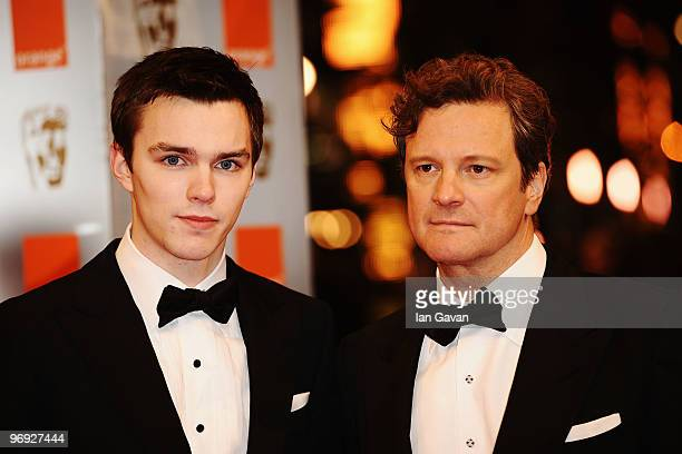 Actors Nicholas Hoult and Colin Firth attend the Orange British Academy Film Awards 2010 at the Royal Opera House on February 21 2010 in London...