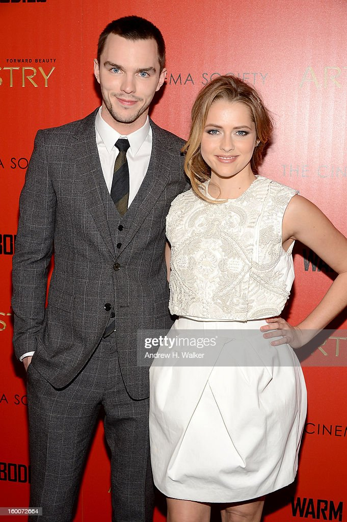 Actors Nicholas Hoult and Teresa Palmer attend The Cinema Society And Artistry Host A Screening Of 'Warm Bodies' at Landmark's Sunshine Cinema on January 25, 2013 in New York City.