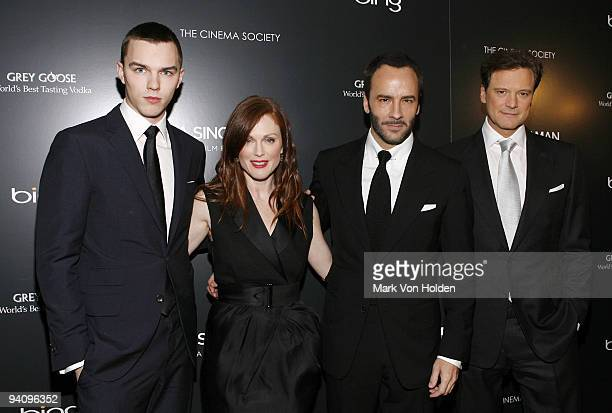 """Actors Nicholas Hoult, Julianne Moore, Director/writer Tom Ford and actor Colin Firth attend attends a screening of """"A Single Man"""" hosted by the..."""