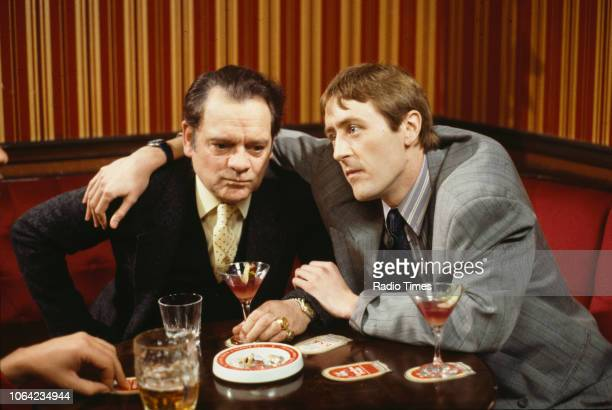 Actors Nicholas Lyndhurst and David Jason in a pub scene from episode 'Little Problems' of the BBC Television sitcom 'Only Fools and Horses' circa...
