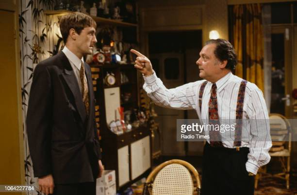 Actors Nicholas Lyndhurst and David Jason in a scene from episode 'The Chance of a Lunchtime' of the television sitcom 'Only Fools and Horses'...