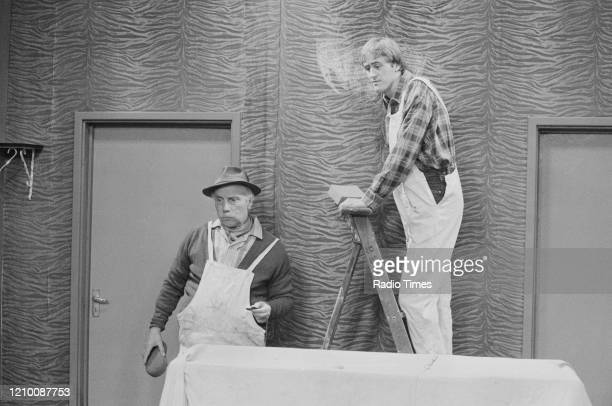 Actors Nicholas Lyndhurst and Lennard Pearce in a scene from episode 'Who's a Pretty Boy?' of the BBC television series 'Only Fools and Horses',...