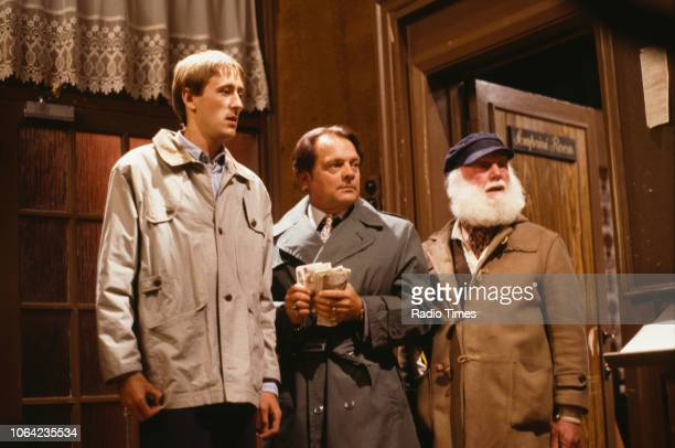 Actors Nicholas Lyndhurst David Jason and Buster Merryfield in a scene from episode 'The Jolly Boys Outing' of the BBC Television sitcom 'Only Fools...