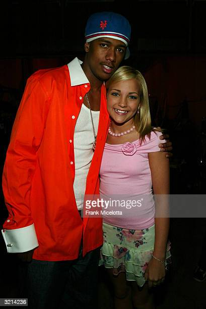 Actors Nick Cannon and Jamie Lynn Spears pose backstage during Nickelodeon's 17th Annual Kids' Choice Awards at Pauley Pavilion on the campus of UCLA...