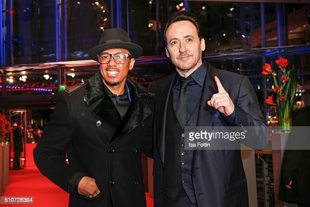 Actors Nick Cannon and John Cusack attend the 'ChiRaq' Premiere during the 66th Berlinale International Film Festival on February 16 2016 in Berlin...