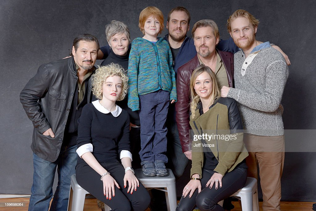 Actors Nick Damici, Kelly McGillis, Jack Gore, filmmaker Jim Mickle, actors Bill Sage, Wyatt Russell (Bottom L-R) Julia Garner, and Ambyr Childers pose for a portrait during the 2013 Sundance Film Festival at the WireImage Portrait Studio at Village At The Lift on January 18, 2013 in Park City, Utah.