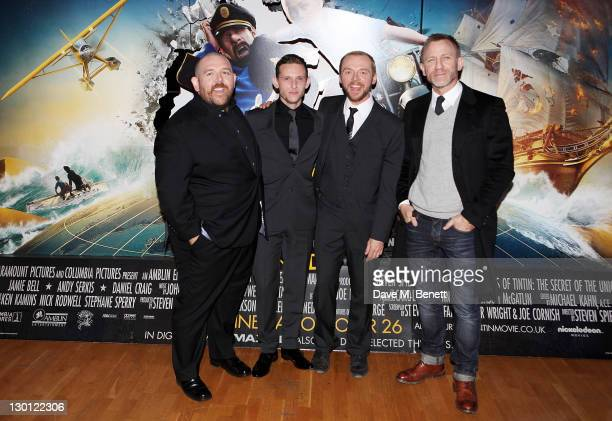 Actors Nick Frost Jamie Bell Simon Pegg and Daniel Craig attend the UK Premiere of 'The Adventures Of Tintin The Secret Of The Unicorn' at Odeon West...