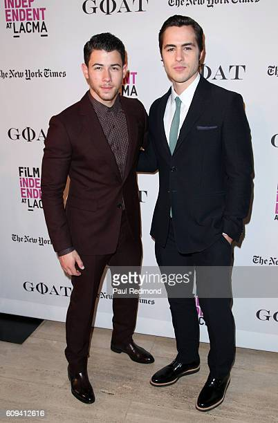 Actors Nick Jonas and Ben Schnetzer arrive at Film Independent at LACMA special screening of Goat at Bing Theatre At LACMA on September 20 2016 in...