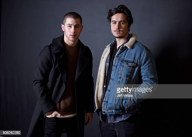 Actors Nick Jonas and Ben Schnetzer from the film Goat pose for a portrait during the WireImage Portrait Studio hosted by Eddie Bauer at Village at...