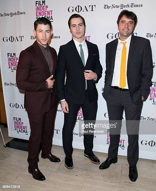 Actors Nick Jonas Ben Schnetzer and director Andrew Neel arrive at Film Independent at LACMA special screening of Goat at Bing Theatre At LACMA on...