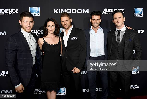 Actors Nick Jonas Joanna Going Matt Lauria Frank Grillo and Jonathan Tucker attend the Premiere Event for DIRECTV's KINGDOM on October 1 2014 in...
