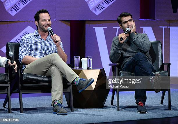 """Actors Nick Kroll and Kumail Nanjiani speak onstage during """"How to Earn Thousands Making Comedy"""" at the Vanity Fair New Establishment Summit at Yerba..."""
