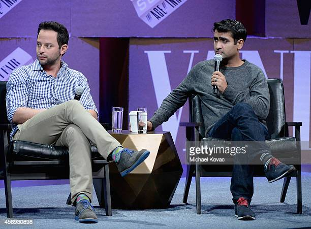 Actors Nick Kroll and Kumail Nanjiani speak onstage during How to Earn Thousands Making Comedy at the Vanity Fair New Establishment Summit at Yerba...