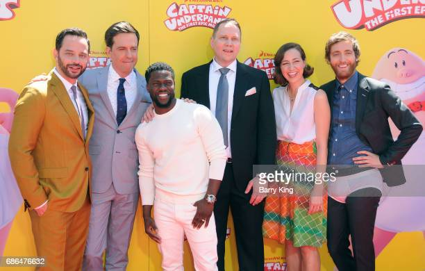 Actors Nick Kroll Ed Helms Kevin Hart author Dav Pikey actress Kristen Schaal and actor Thomas Middleditch attend the premiere of DreamWorks...