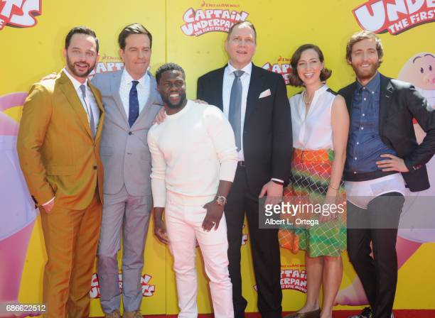 Actors Nick Kroll Ed Helms Kevin Hart author Dav Pikey actress Kristen Schaal and actor Thomas Middleditch arrives for Premiere Of 20th Century Fox's...