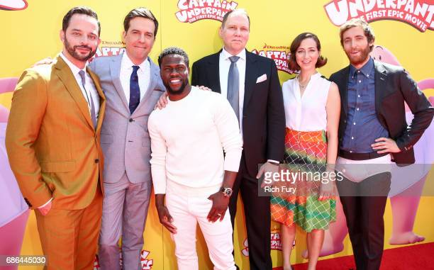 Actors Nick Kroll Ed Helms Kevin Hart author Dav Pilkey actor Kristen Schaal and actor Thomas Middleditch attend the premiere of 20th Century Fox's...