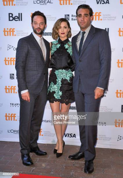 Actors Nick Kroll Rose Byrne and Bobby Cannavale attend the 'Adult Beginners' premiere during the 2014 Toronto International Film Festival at Ryerson...