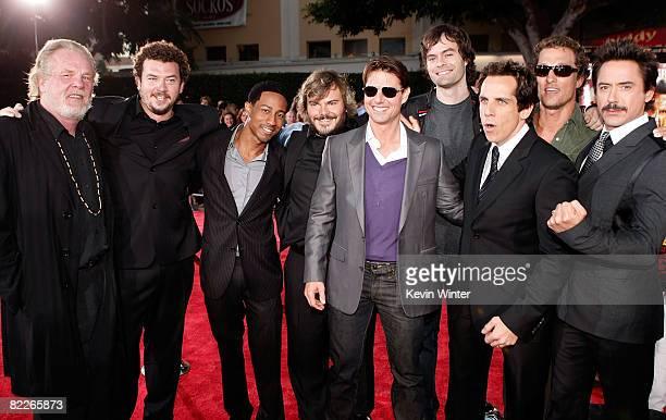 Actors Nick Nolte Danny McBride Brandon T Jackson Jack Black Tom Cruise Bill Hader Ben Stiller Matthew McConaughey and Robert Downey Jr arrive on the...