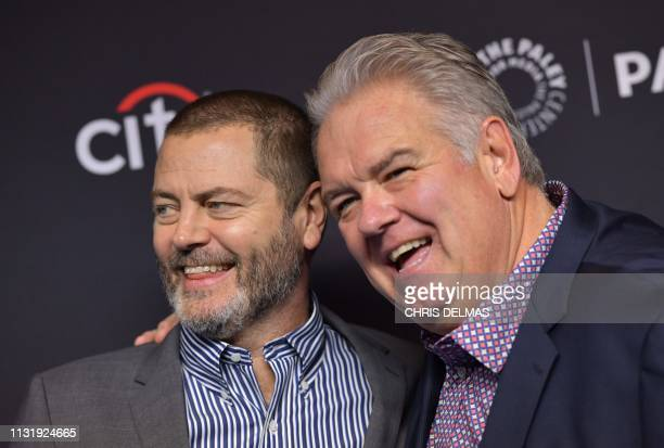 US actors Nick Offerman and Jim O'Heir arrive for the PaleyFest presentation of NBC's Parks and Recreation 10th Anniversary Reunion at the Dolby...
