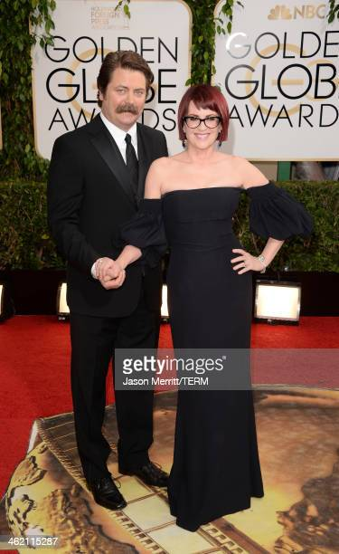 Actors Nick Offerman and Megan Mullally attend the 71st Annual Golden Globe Awards held at The Beverly Hilton Hotel on January 12 2014 in Beverly...