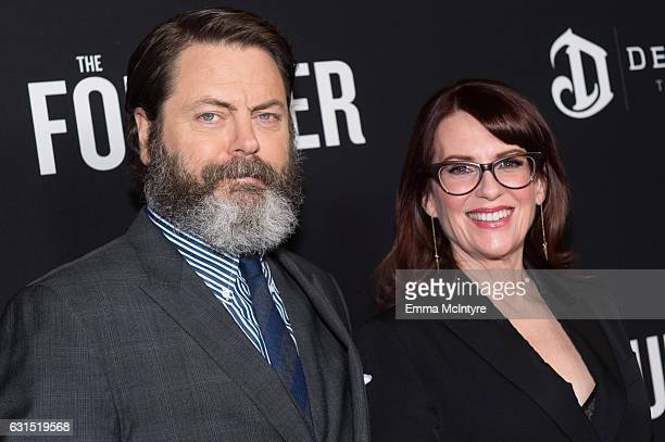 Actors Nick Offerman and Megan Mullally attend the premiere of the Weinstein Company's 'The Founder' at ArcLight Cinemas Cinerama Dome on January 11...