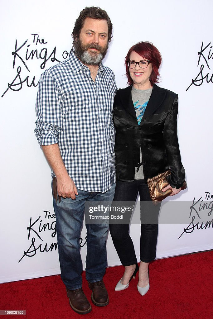 Actors Nick Offerman (L) and Megan Mullally attend the 'The Kings Of Summer' Los Angeles premiere held at the ArcLight Hollywood on May 28, 2013 in Hollywood, California.
