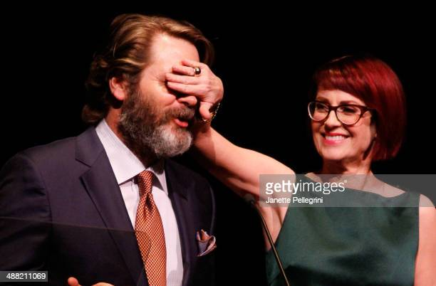 Actors Nick Offerman and Megan Mullally host the 29th Annual Lucille Lortel Awards at NYU Skirball Center on May 4 2014 in New York City