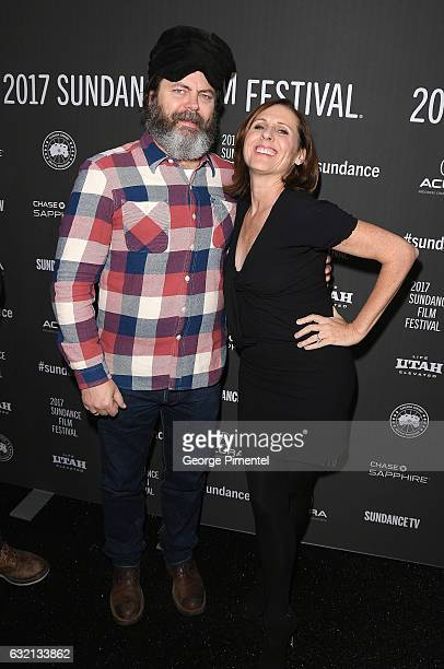 Actors Nick Offerman and Molly Shannon attend 'The Little Hours' premiere during day 1 of the 2017 Sundance Film Festival at Library Center Theater...