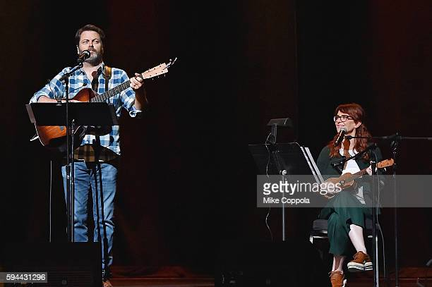 Actors Nick Offerman and wife Megan Mullally perform Summer Of 69 No Apostrophe at Beacon Theatre on August 23 2016 in New York City