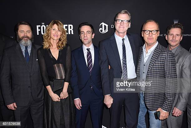 Actors Nick Offerman Laura Dern and BJ Novak director John Lee Hancock actor Michael Keaton and producer Aaron Ryder attend 'The Founder' US Premiere...