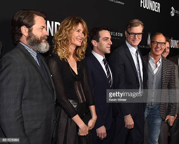 Actors Nick Offerman Laura Dern BJ Novak director John Lee Hancock and actor Michael Keaton arrive at the premiere of the Weinstein Company's 'The...