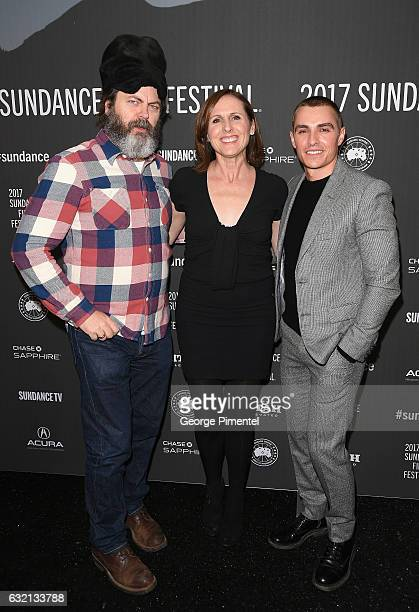 Actors Nick Offerman Molly Shannon and Dave Franco attend 'The Little Hours' premiere during day 1 of the 2017 Sundance Film Festival at Library...