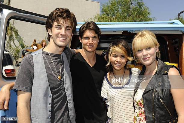 Actors Nick Palatas Robbie Amell Hayley Kiyoko and Kate Melton from Scooby Doo The Mystery Begins celebrate ScoobyDoo and Cesar Millan's 40th...