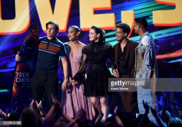 "Actors Nick Robinson, Alexandra Shipp, Katherine Langford, Jorge Lendeborg Jr. And Keiynan Lonsdale accept the Choice Comedy Movie for ""Love, Simon""..."