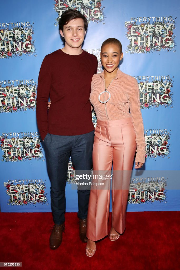 Actors Nick Robinson (L) and Amandla Stenberg attend the 'Everything, Everything' New York Screening at The Metrograph on April 30, 2017 in New York City.