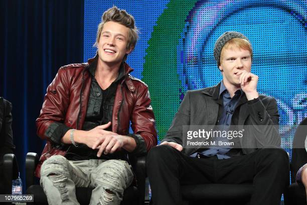 Actors Nick Roux and Adam Hicks speak at Disney ABC Television Group's TCA 'Winter Press Tour' Panels at The Langham Hotel on January 10 2011 in...