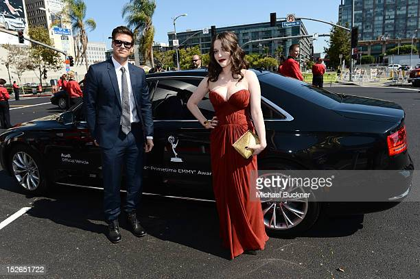 Actors Nick Zano and Kat Dennings arrive at Audi at The 64th Primetime Emmy Awards at Nokia Theatre LA Live on September 23 2012 in Los Angeles...